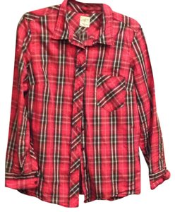 Gap Button Down Shirt Red and black plaid