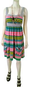 Mossimo Supply Co. short dress beige, pink, green Size Small Striped on Tradesy