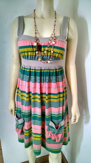 Mossimo Supply Co. short dress beige, pink, green Size Small Striped Stretchy Summersale on Tradesy
