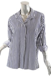 Chanel Stripe Button Down Shirt Navy & White
