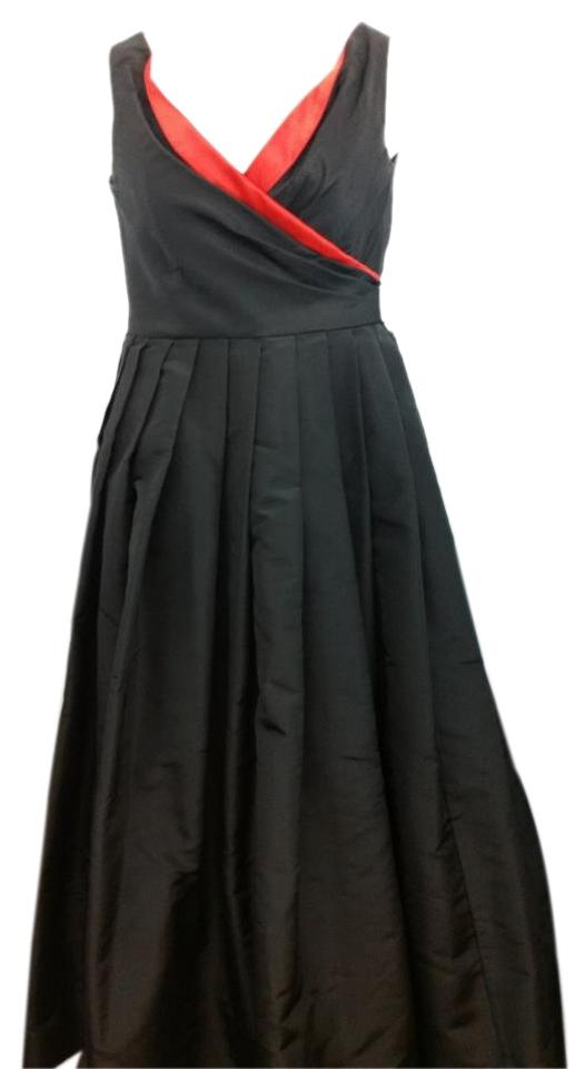 Roland Nivelais Red Trim Black Evening Ball Gown M Long Formal Dress ...