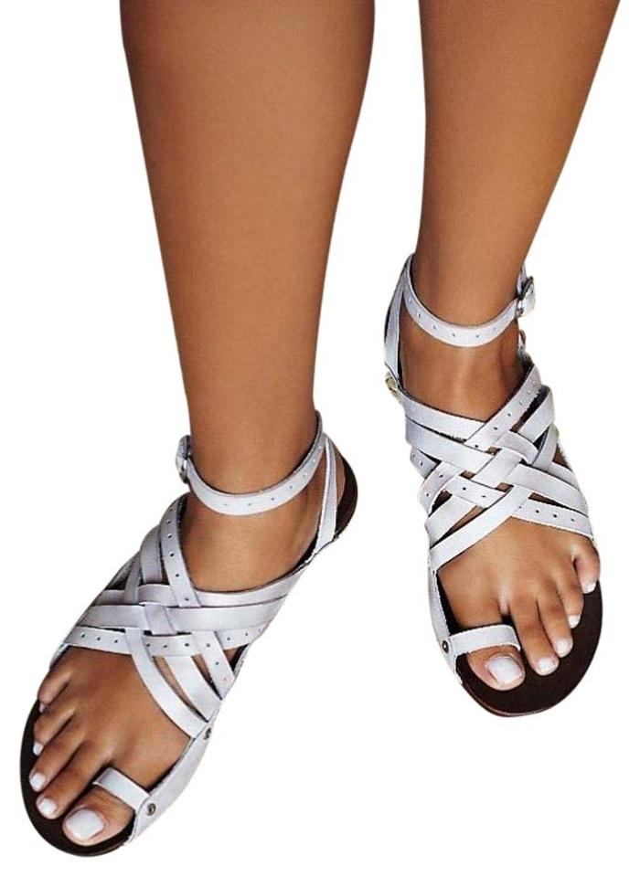 Free People Lilac Strappy Leather Crisscross Leather Strappy Sandals 8cedeb