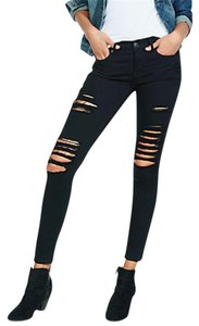 Express Denim Legging Jean Black Distressed Leggings