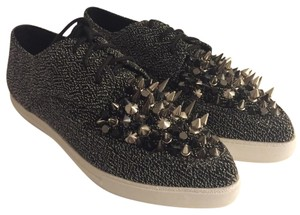 Jeffrey Campbell Black Lame with metal spikes Flats