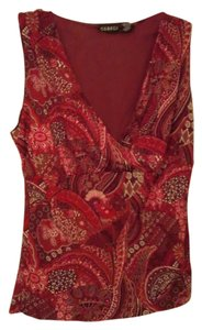 George Floral V-neck Sleeveless Nylon Top Red