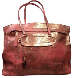 Furla Leather Satchel in Pink Metallic