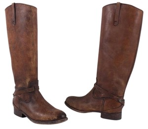 Frye Distressed Leather Cognac Brown Boots
