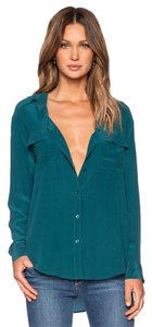 Equipment Silk Blouse Button Down Shirt Teal