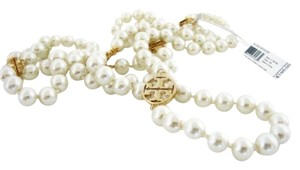 Tory Burch NWT TORY BURCH EVIE LOGO & GLASS PEARL ROSARY NECKLACE