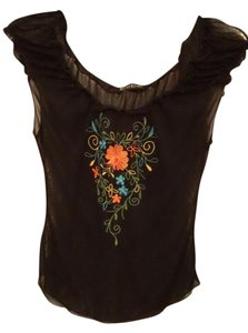bebe Elastic Sheer Open Floral Top Black