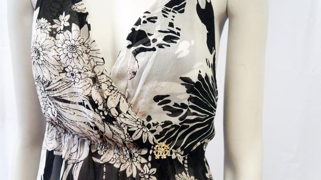 Roberto Cavalli New Floral Print Deep Top Black, White Image 1