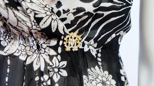 Roberto Cavalli New Floral Print Deep Top Black, White Image 2
