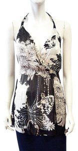 Roberto Cavalli New Floral Print Deep Top Black, White