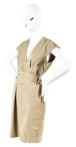 Gucci Tan Cotton Belted V Dress