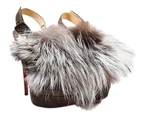Christian Louboutin Dark Suede Fox Fur Splash Platform Brown Pumps
