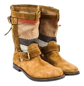 Burberry Light Brown White Multi-Color Boots