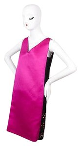 Lanvin short dress Pink Fuchsiablack Silk Sleeveless Beaded on Tradesy