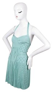 Balmain Mint Pleated Halter Dress