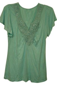 Covington Embellished Embroidered Floral Flowy Rayon T Shirt Seagreen