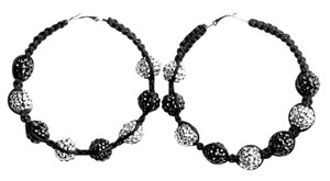 Other Black Hoop Earrings with Silver and Black Sequin Balls
