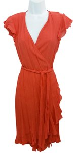 Diane von Furstenberg short dress coral Ruffled Wrap on Tradesy