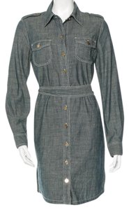 Tory Burch short dress Grey, Blue, Gold Belted Denim Hardware on Tradesy