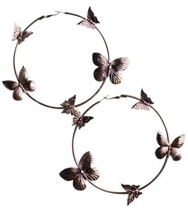Bronze Butterfly Hoop Earrings