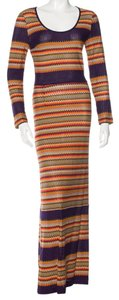 Orange, Brown, Purple Maxi Dress by M Missoni Chevron Knit Striped V-neck
