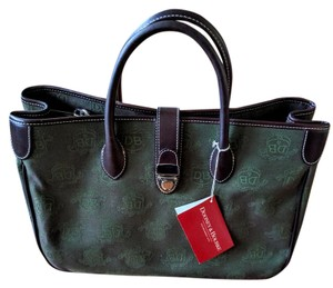 Dooney & Bourke Tote in Dark Green/Dk.Brown Leather/Silver Hardware
