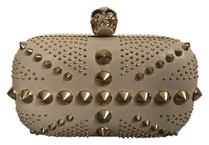 Alexander McQueen Skull Studded Leather Nude Clutch