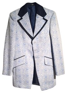 After Six Vintage Light Blue Pastel Brocade Suit Jacket Blazer