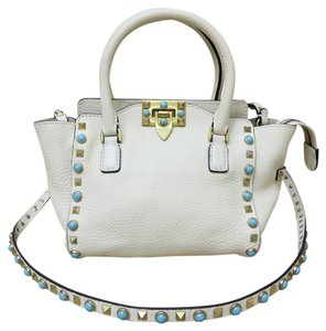 Valentino Small Rolling Rockstud Tote Satchel in white