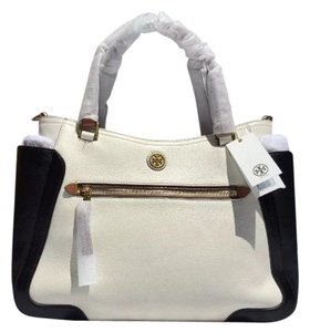 Tory Burch Frances Leather Color Satchel in Ivory & Black