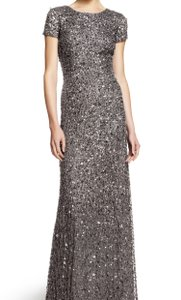 Adrianna Papell Silver Scoop Back Sequin Gown Dress