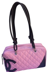 Chanel Pink Cambon Lambskin Quilted Satchel in Black, Pink