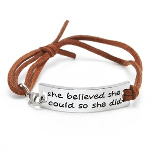 She Believed She Could Brown faux suede inspirational Bracelet