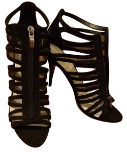 Nine West Caged Heel Zip Front Heel New Year's Eve Never Worn Black Sandals