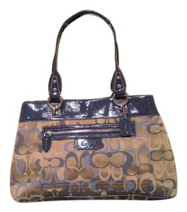"Coach Jacquard Leather Color Signature ""C"" Hangtag Tote in Blue"
