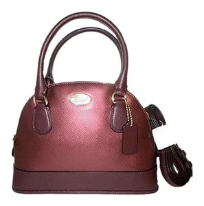 Coach Mini Cora Dome Crossgrain Leather Satchel in Oxblood Metallic Chery