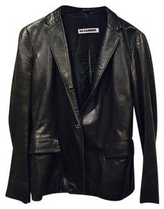 Jil Sander Dark Green Leather Jacket