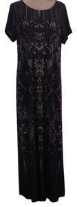 Gray black and white print Maxi Dress by Bob Mackie