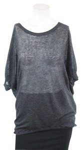Vince Gray Striped Silk Batwing T Shirt