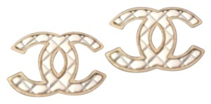 Chanel two-toned gold silver 2016 quilted CC logo earrings NWB
