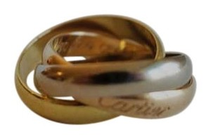 Cartier CARTIER 18K Yellow/White/Pink Gold Trinity Rolling Ring Sz 47 (US 4)