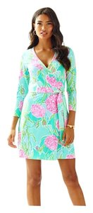 Lilly Pulitzer short dress Blue, green, pink Wrap Flowers Lilly on Tradesy