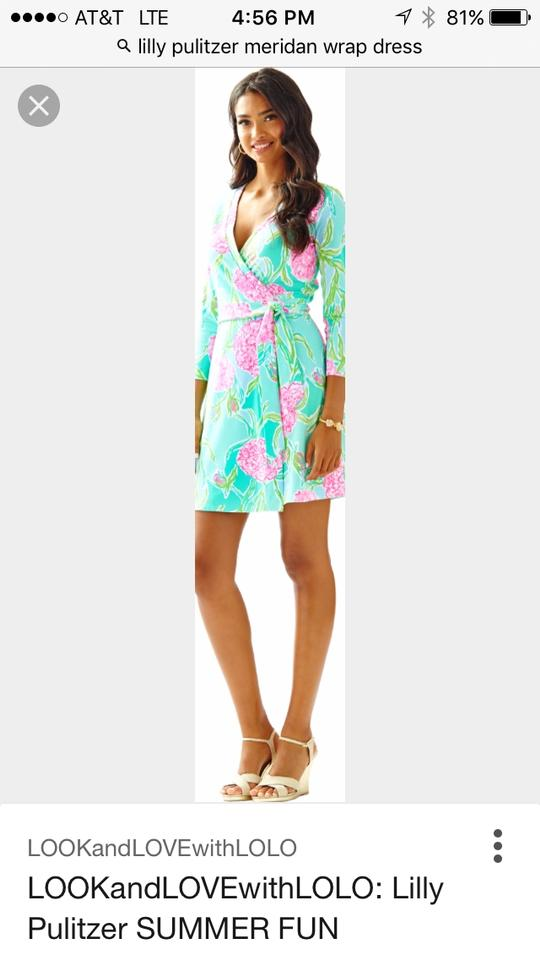 6a468826a77fb2 Lilly Pulitzer short dress Blue, green, pink Wrap Flowers on Tradesy Image  5. 123456