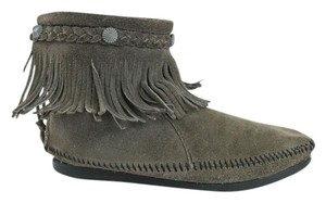 Minnetonka Moccasins Grey Suede Ankle Boots
