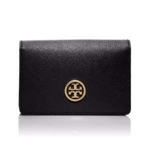 Tory Burch Robinson Foldable Leather Card Case, Black