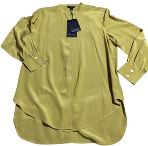 St. John Silk Button Up Top Olive