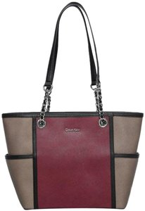 Calvin Klein Leather Chain Silver Fall Tote in Dark taupe and raisin